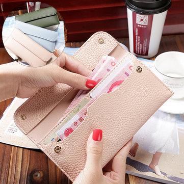 Le donne del litchi Slot del modello della carta di colore solido sacchetto del raccoglitore della borsa della borsa per smartphone iPhone di Samsung