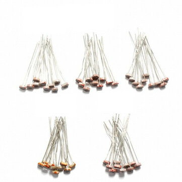 5 Values 10pcs Each Photoresistance Photosensitive Resistor Pack 5506/5516/5528/5537/5539 50pcs Total