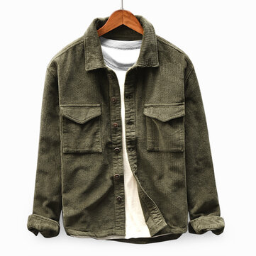 Mens Corduroy Vintage Double Pockets Loose Comfy Solid Color Turn Down Collar Coats