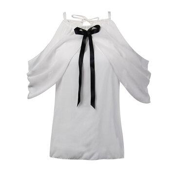 सुरुचिपूर्ण सेक्सी महिला सफेद हेलर बंद कंधे बो Pleated शिफॉन ब्लाउज