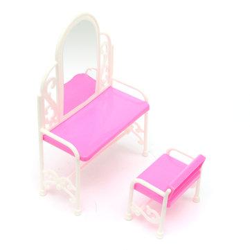 Precioso set de sillas de mesa para muñecas Barbies, muebles de dormitorio de casa de muñecas, juguetes