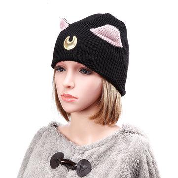 महिला Crochet बुनाई Beanie Hat लवली चंद्रमा कढ़ाई बिल्ली कान पैटर्न स्की गर्म कैप बुनाई