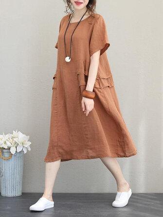 Retro Kadın Günlük Pamuk Düz Renk Gevşek Kısa Kollu Elbise