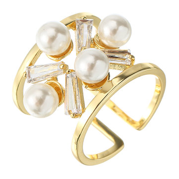 JASSY® Women's Opening Ring 18K Gold Plated Zircon Hollow Pearl Ring Fashion Jewelry