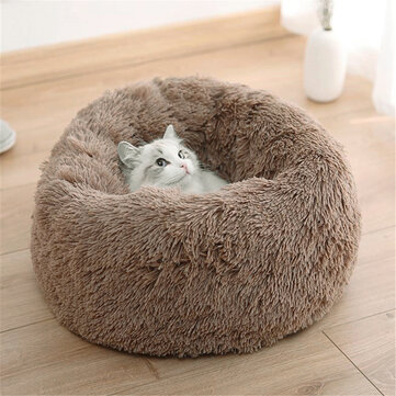 4 Size Dog Cat Round Bed Sleeping Bed Plush Pet Bed Kennel Sleeping Cushion Puppy