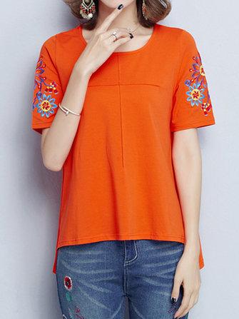 जातीय महिला लघु आस्तीन पुष्प कढ़ाई लूज ओ-गर्दन टी शर्ट