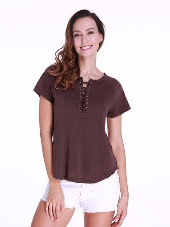 Casual Mujer Camisetas de manga corta con cordones en color liso