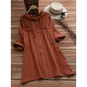Women Casual Cotton Solid Color Drawstring Hooded Long Sleeve Blouse