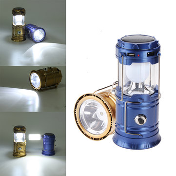 solar power led usb camping lantern light tent hiking torch