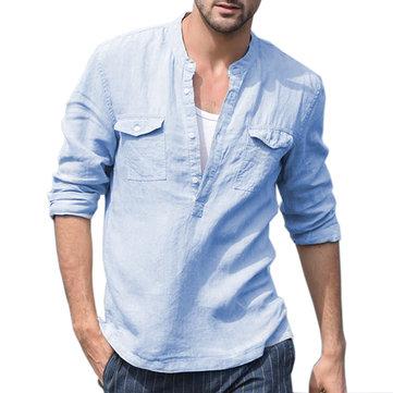 पुरुषों का 100% लिनन सांस स्टैंड स्टैंड कॉलर डबल पॉकेट आरामदायक लंबी आस्तीन शर्ट्स
