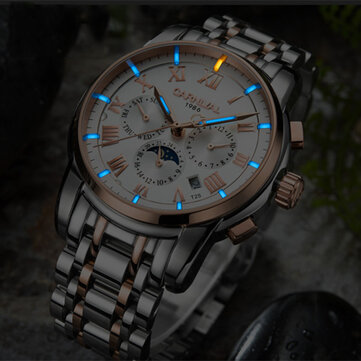 CARNIVAL C8799 Luminous Display Moon Phase Automatic Mechanical Watch Full Steel Waterproof Men Watch