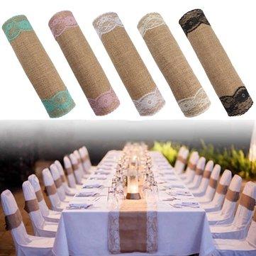 5 màu Đay mộc mạc Vải bố Ren Á hậu Trang trí tiệc cưới