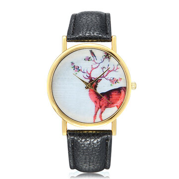 Fashion Deer Pattern Gold Color Case PU Leather Band Analog Quartz Women Wrist Watch