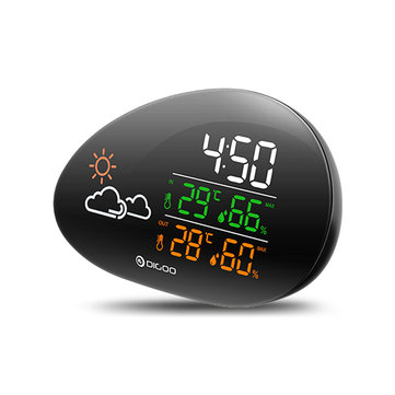 DIGOO DG-THS01 Lying Stone Clock Weather Station Weather Forecast Outdoor Indoor Thermometer Hygrometer Temperature Humidity Calendar Clock Snooze Function