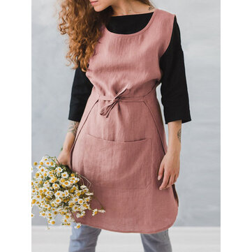 Women Sleeveless Pocket Cotton Solid Color Vintage Apron Dress
