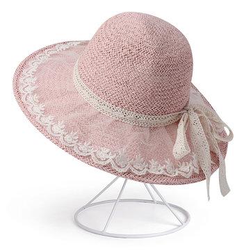 Phụ nữ có thể gập lại Bow Bow Kem chống nắng Xô Mũ Mũ ngoài trời Du lịch Bình thường Biển