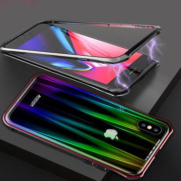 Luphie beskyttelsesveske til iPhone XS Max gradient magnetisk adsorpsjon aluminium temperert glass full kroppsveske