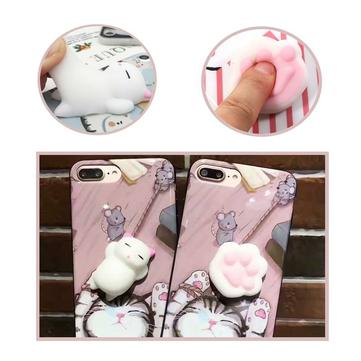 Bakeey ™ Cartoon 3D Squishy Squeeze Sakte Rising Soft Lazy Cat Claws PC Veske til iPhone 7/8 7Plus / 8Plu