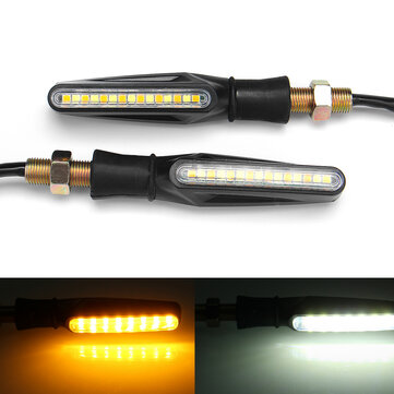 Pair 12V Motorcycle Dual Color LED Turn Signal Indicator DRL Flowing Sequential Lights