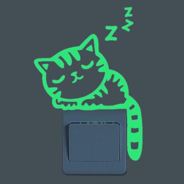 Sleeping Cat Creative Luminous Switch Sticker Removable Glow no Dark Wall Decal Home Decor
