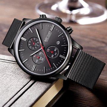 MEGIR 2011G Pria Menonton Mewah Ultra Slim Bisnis Stainless Steel Strap Quartz Wrist Watch