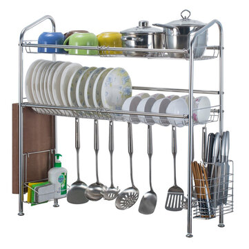 Buy 1/2 Layer Tier Stainless Steel Dish Drainer Cutlery Holder Rack Drip Tray Kitchen Tool For Single Sink with Litecoins with Free Shipping on Gipsybee.com