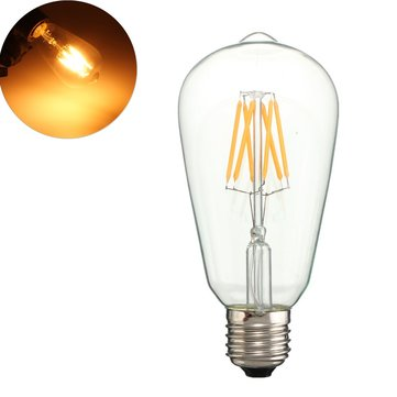 Kingso AC85-265V Non-dimmable Warm White 480LM E27 ST64 6W LED COB Light Bulb for Indoor Home