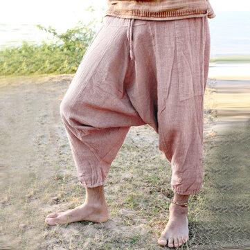 पुरुषों का आरामदायक 100% कपास लूज विंटेज शुद्ध रंग ड्रॉस्ट्रिंग क्रॉच पैंट