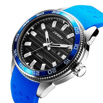 SINOBI 1255 Sáng phong cách thể thao không thấm nước Thạch anh Đồng hồ đeo tay silicone Đồng hồ đeo tay nam