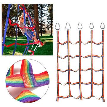 145x185cm Rainbow Nylon Climbing Cargo Net for Kids Outdoor Play Sets Sport Training