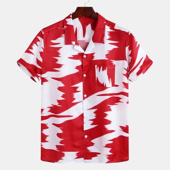 Mens Abstrakt Tryckt Kontrast Färg Bröstficka Kortärmad Löst Mode Skjortor