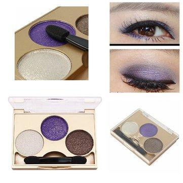 3 färger Smokey Eye Shadow Palette Kit Glitter Shimmer Eyeshadow Gold Eyes Makeup Set