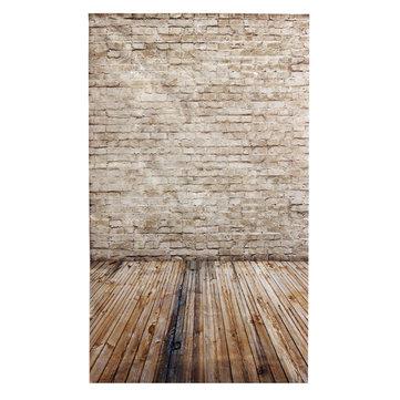 3x5ft 90x150cm Vinyl Cream Coloured Wooden Floor Brick Studio Prop Photography Backdrop