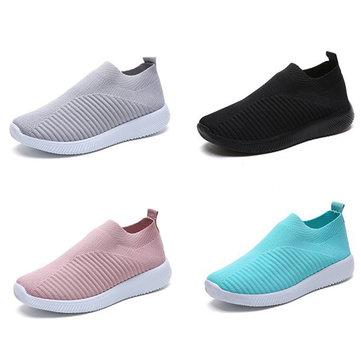 TENGOO Women Casual Shoes Plus Size Breathable Mesh Slip-on Vulcanize Shoes Ladies Sneakers