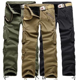 पुरुषों मोटी ध्रुवीय फ्लीस मल्टी पॉकेट कपास कार्गो पैंट लाइन