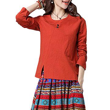 आरामदायक ठोस रंग ओ-गर्दन लंबी आस्तीन कपास महिला टी शर्ट