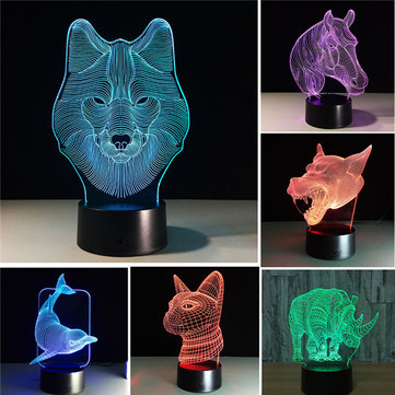 Colorful Festival Halloween LED 3D Illusion Lamp Night Light TF Card bluetooth Speaker