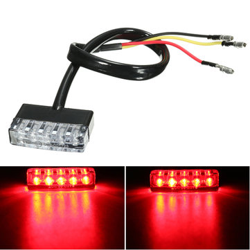 12V 5 LED Rear Tail Running Stop Brake Light Red Lamp Motorcycle ATV Bike