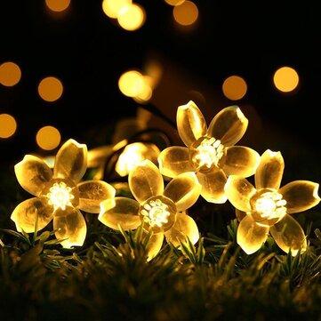 KCASA 5M 50 LED Sakura Hoa Chuỗi Đèn LED Fairy Fairy cho Lễ hội Giáng sinh Halloween Tiệc cưới Trang trí Pin Powerd