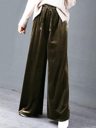 Kasual Wanita Tinggi Pinggang Elastis Longgar Beludru Lebar Kaki Celana