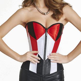 सेक्सी फैशन सिलाई रंग साटन ओवरबस्ट फ्रंट जिपर कॉस्प्ले बस्टियर कॉर्सेट