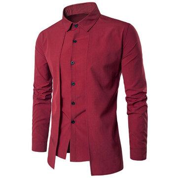 INCERUN Stylish Slim Fit Long Sleeve Lapel Dress Shirts for Men