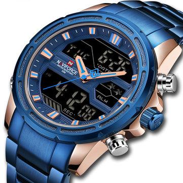 NAVIFORCE 9138S Waterproof LED Dual Digital Watch Military Style Men Wrist Watch