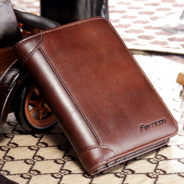 628784c217f2 Men RFID Blocking Secure Wallet Fashion Vintage Purses Genuine Leather  Tri-fold Wallet Short Wallet
