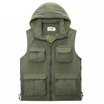 Mens Mesh Outdooors Casual Thin Fishing Photography Multi Pocket Detachable Hooded Vest