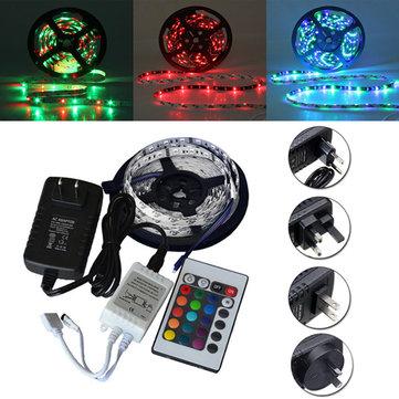 5M SMD 3528 300 Non-Waterproof LED RGB Strip Flexible Light 24 Key IR Remote + Power Adapter DC12V