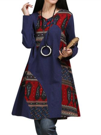 विंटेज महिला जातीय शैली मुद्रित पैचवर्क लंबी आस्तीन ए लाइन पोशाक