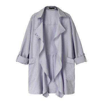 Plus Size Casual Women Lapel Collar Long Sleeve Cardigans