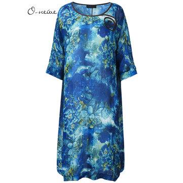 सुरुचिपूर्ण महिला जातीय शैली फूल मुद्रण मिडी पोशाक