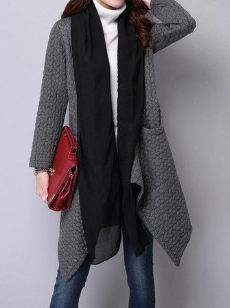 Women Elegant Long Sleeve Patchwork Irregular Thick Cardigans